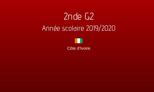 2nde G2 - Année scolaire 2019/2020