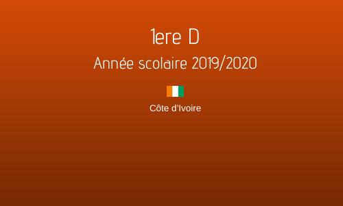1ere D - Année scolaire 2019/2020